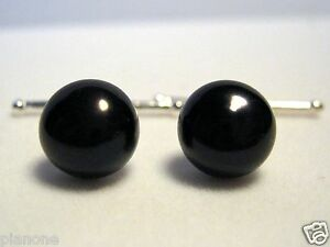 10mm Black Cultured Pearl Cuff Links - Sterling Silver .925 Chain Handmade New