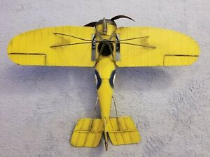 Metal Yellow Toy Airplane - Plane w/ Propeller - Flying - Model - Vintage?