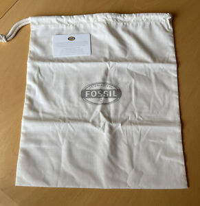 Fossil Drawstring Cream Dust Storage Canvas Gift Bag New