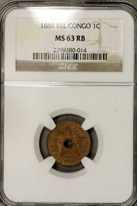 Belgian Congo 1888 1 cent  NGC MS 63 RB