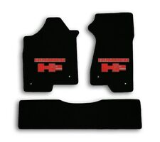 2003-2007 Hummer H2 - Black Velourtex Carpet 3pc Mat Set - Red Hummer H2 Logo