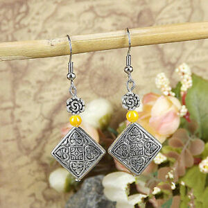 Cute New Tibetan Silver Yellow Bead & Diamond Shape Charm Dangle Drop Earrings