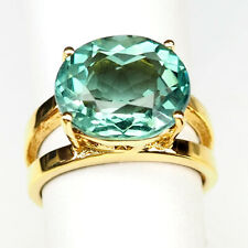 Aquamarine Aqua Blue Ring Size 6.25 Oval 6.30 Ct. 925 Sterling Silver Gold women