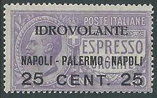 1917 REGNO POSTA AEREA NAPOLI PALERMO MNH ** - E128