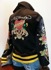 Ed Hardy Medium Jacket Love Kills Slowly Black Yellow Track Hoodie Style 42474