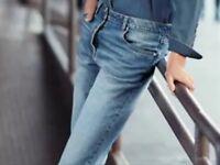 BNWT🌹Next🌹Size 12 Ladies Boyfit Stonewashed Button Fly Denim Mid Rise Jeans