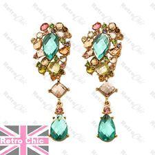 7cm BIG BOHEMIUM rhinestone crystal AQUA drop EARRINGS pink nude gold multicolor