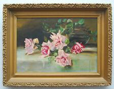 ANTIQUE 19TH CENTURY OIL CANVAS PAINTING FLORAL STILL LIFE AND VASE ORNATE FRAME