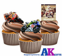 PRECUT Keep Calm and Love MotoGP Mix 12 Edible Cupcake Toppers Cake Decorations