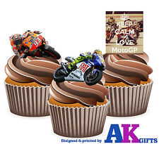 PRECUT Keep Calm and Love MotoGP Mix 12 Edible Cupcake Toppers Cake Decorations