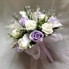 BRIDES POSY BOUQUET, CALA LILIES, IVORY, LILAC ROSES, ARTIFICIAL WEDDING FLOWERS