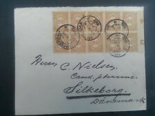 Nederland  54 blok van 10 stuks met velrand op brief van A'dam - Silkeborg 1922