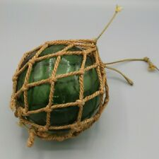 "Vintage Green Glass Fishing Float with Rope - Made in England (5"")"
