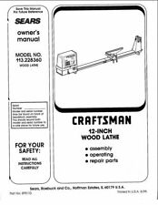 1995 Craftsman 113.228360  12-inch Wood Lathe Owners Manual Instructions