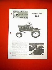 WHEEL HORSE TRACTOR HYDRAULIC UNIT ATTACHMENT MODEL HY-3 OWNER WITH PARTS MANUAL