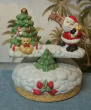 Vintage Musical Rocking Santa with a Ladder and Christmas Tree Music Box