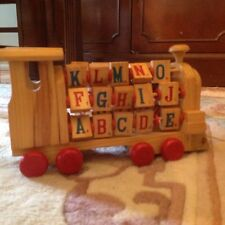 "Vintage 11"" x4"" Wooden Alphabet Train Pull Toy"