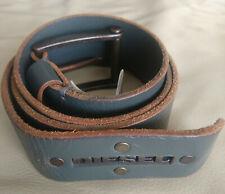 Diesel men grey leather logo hardware buckle belt size 90cm
