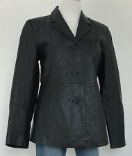 MARC MATTIS Womens Sz M Black Leather Blazer Jacket Fitted Coat Great Look Sz M