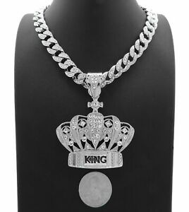 """HIP HOP SILVER  KING CROWN ICED PENDANT 12mm 18"""", 20""""  CUBAN NECKLACE"""