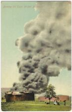 1920s Burning Oil Tank Fire Colored Postcard - Pennsylvania?