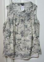 TALBOTS FLORAL SLEEVELESS BLOUSE, SIZE 18W, 100% SILK