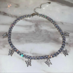 UK Fashion Silver Crystal Rhinestone Butterfly Pendant Necklace Clavicle Choker~