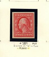 KGStamp RARE Print Error Stamp SC# 384 Two Line Misprint in 'O' MLH Imperf Mint