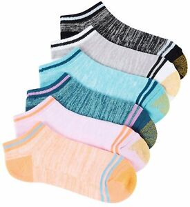 Gold Toe Womens 6-pk. Marled Stripe Cushion Liner Socks