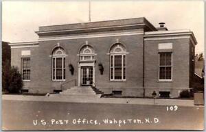 WAHPETON, North Dakota RPPC Photo Postcard U.S. POST OFFICE / Street View c1930s