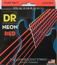 DR Handmade NRE-11 Neon Red Electric Guitar Strings heavy gauges 11-50
