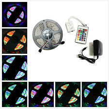 5M 16.4ft SMD RGB 3528 IP65 Waterproof 300 LED Strip Light 24 Key Remote + Power