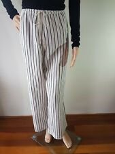 SPORTSCRAFT Ladies White Grey Stripe Casual Pants Trousers Size: 18 EC