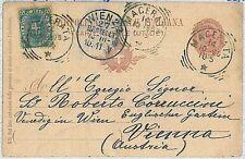 ITALIA REGNO - Intero Postale C 25 con FRANCOBOLLO AGGIUNTO : Macerata - AUSTRIA