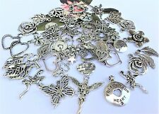 55 Mix Silver Mystic Secret Garden Fairy, Butterfly,Leaf,Flower,  Charms * *New!