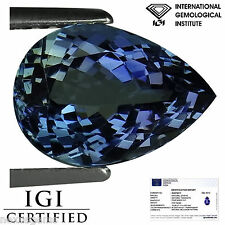 2.52 Ct IGI Certified A+ Natural D Block Tanzanite Blue Violet Color Pear Cut