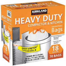 Kirkland Heavy Duty Compactor & Kitchen Trash Bags 18 Gallon 70 bags