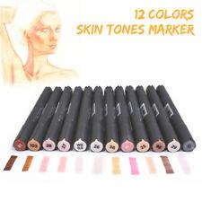 12 Colors Dual Tip Skin Tone Markers Permanent Artist Sketch Manga Pens Supplies