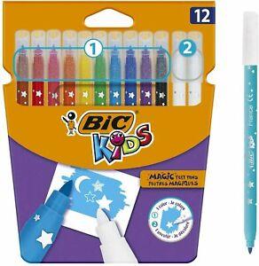 12 x BiC MAGIC Erasable Ink Felt Tip Colouring Pens Kids Washable - NEW