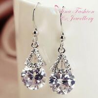 18K White Gold Filled Simulated Diamond Round Cut Triangle Dangle Earrings