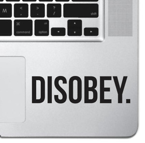 """Disobey Inspirational Macbook Sticker Decal Skin Cover for Macbook Air Pro 13"""""""
