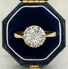 18CT GOLD DIAMOND CLUSTER ENGAGEMENT RING SIZE L, HALLMARKED 1976, ROUND, 18K