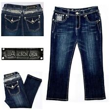 LA IDOL Women's Embellished Capri Cropped Stretch Jeans Flap Pocket Juniors Sz 9