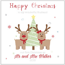 Personalised Our First Christmas Together Reindeer Card Husband Wife