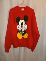 Vintage 1990's Mickey & Co. Smiling Mickey Mouse Sweatshirt - Red, Unisex And XL