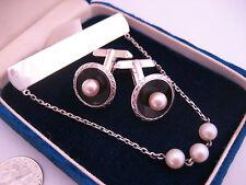 Vintage Japan Pearl Onyx Sterling Silver Emboss Cufflinks Tie Scarf Bar Pin Set