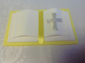 HANDMADE sugarcraft Bible /Book cake topper - YELLOW & white - 2 sizes available