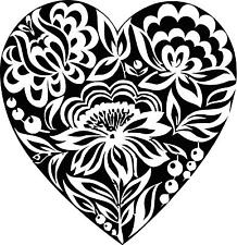Big Heart with Flower Details Inside   Vinyl Wall decal
