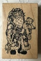 PSX Old World Santa with Teddy Bear Wood Mounted Rubber Stamp Christmas Holiday