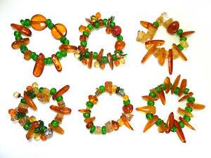 Napkin Serviette Rings Set 6 Baltic Amber Beads Artisan Hand Made All Vary New